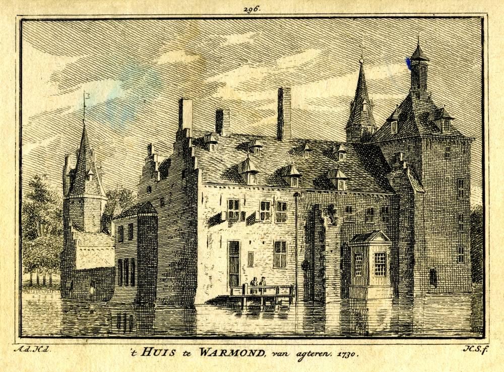 Huys te Warmond in Warmond. Tekening Abraham de Haen, gravure Hendrik Spilman (Uit: Het Verheerlykt Nederland, Isaac Tirion, 1745/1774)